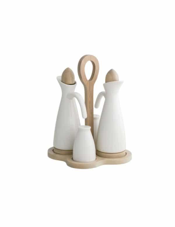 Brandani Menage in Porcellana Bianca e Bamboo Naturale