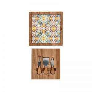 Brandani - Tagliere form medicea acacia e vetro con cofanetto coltelli in acacia e inox
