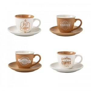 Tazzina caffè colori e decori assortiti set 4 pezzi New Bone china