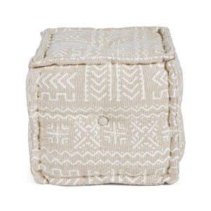 Bizzotto - Pouf Latika Naturale 40X40 lavorato a Mano. Lavorazione a materasso artigianale (fatta a mano).