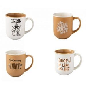 Brandani - Mug colori e decori assortiti set 4 pezzi New Bone China