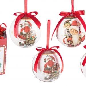 Confezione 14 Sfere Babbo Natale con Regali diametro 7,5 CM
